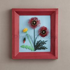 Quilled poppies and dandelion, framed