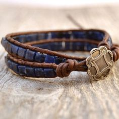 Blue beaded wrap bracelet. Sodalite cube bracelet. Boho chic jewelry -Made to order-