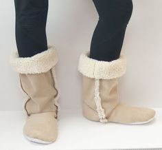 """DIY - Sherpa """"boots"""" for comfy winter houseshoes.  Click for photos and instructions. Wonderful idea for those of us who have cold feet all winter long!!!"""