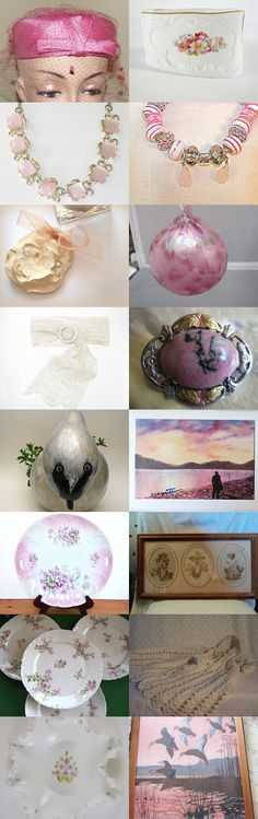 """Pretty in Pink and Lace / Team Vintage USA Treasury Blitz"" Curated by lori planken  @ https://www.etsy.com/shop/Daysgonebytreasures Featuring my OOAK Vintage Lovely Soft Pink Agate black matrix Hallmarked 925 Silver and Black Hills 10K Gold Fill @ https://www.etsy.com/listing/164931294/ooak-vintage-lovely-soft-pink-agate?ref=tre-2723791151-8"