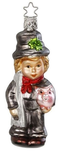 Inge Glas All the Luck Boy German Glass Christmas Ornament Chimney Sweep Pig New