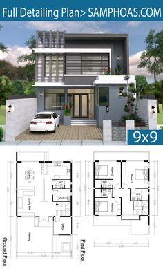 House plans - 3 bedroom modern home plan Free House Design, 2 Storey House Design, Duplex House Design, House Front Design, Small House Design, Modern House Design, Model House Plan, Dream House Plans, House Floor Plans