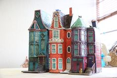 Red Violet Row House // San Francisco Row House by StudioGentuso Pottery Houses, Ceramic Houses, Teal Green, Red Purple, Little Houses, Small Houses, Tiny House, Dark Chocolate Candy, Architectural Sculpture