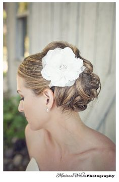 Audrey White or Ivory Bridal Hair Flower with Diamond Rhinestone Center from Silverpencils on Etsy