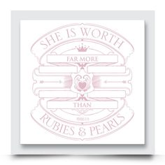 'She is worth far more than rubies and pearls' quote wall art for girls rooms. Personalise this contemporary design with your child's name. Order your artwork with your preferred colour combination today from http://www.madicleo.com/collections/wall-art-for-girls-rooms