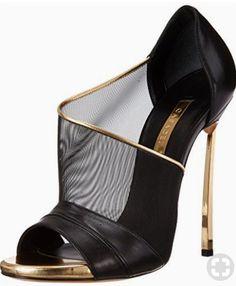 black mesh trimmed in gold w/ gold heel