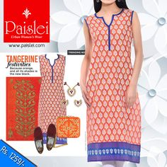 Buy this orange,white cotton ‪#‎kurta‬ by ‪#‎Paislei‬ #summer2016 #ss16 #instapic #orange #kurti #cottonkurta