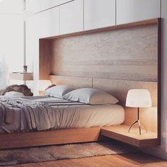 Quarto de casal com cama e criado mudo embutido no nicho. Para complementar incorpore armários em cima! #decorfacil #homedecor #decor #interiordesign #bedroo