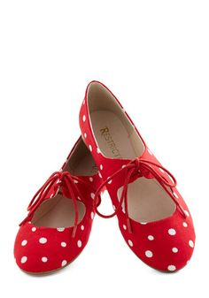 1950s Shoes: Vintage inspired red#1950sfashion #retro #shoes polka dot flats