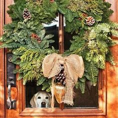 Rustic Wreath - Festive Christmas Wreaths - Southern Living, love the yellow lab peeping out! Natural Christmas, Noel Christmas, Country Christmas, All Things Christmas, Winter Christmas, Christmas Wreaths, Christmas Crafts, Christmas Decorations, Burlap Christmas