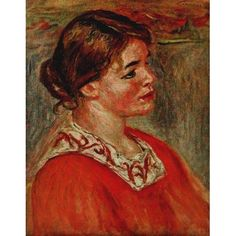 Posterazzi Woman with a red blouse c1895 Canvas Art - Pierre-Auguste Renoir (24 x 36)