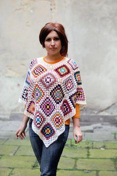 OOAK Crochet scarf handmade scarf Crochet shawl Crochet wrap Granny square scarf…