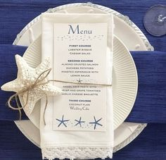 ideas for seafood party decorations table settings place cards Nautical Table, Nautical Wedding, Wedding Menu Cards, Wedding Table Settings, Beach Wedding Reception, Diy Wedding, Beach Weddings, Wedding Favors, Wedding Ideas
