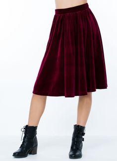 Plush Velvet Midi Skirt BURGUNDY