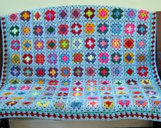 "Crochet Afghan Blanket Large Blue GRANNY SQUARES 50"" x 50"" Handmade Throw"