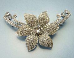 Vintage Art Deco Czech Pave Rhinestone Flower Brooch by jujubee1