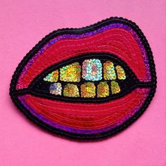 Sequin Golden Mouth Hand Embroidered Patch Appliqué. Meticulously hand embroidered with the best quality sequins and felt. All sequins are