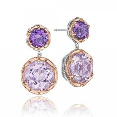 Tacori Blushing Rose Amethyst & Rose Amethyst Earrings ($1,300) ❤ liked on Polyvore featuring jewelry, earrings, rose jewelry, amethyst jewelry, amethyst earrings, earring jewelry and earring charms