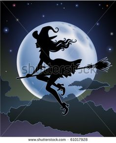 Illustration about Silhouette of a beautiful witch flying in front of a full moon. Illustration of exotic, dark, broom - 17975096 Halloween Poster, Halloween Skull, Witch Flying On Broom, Witch Silhouette, Silhouette Vector, Witch Tattoo, Beautiful Witch, Witch Art, Illustration