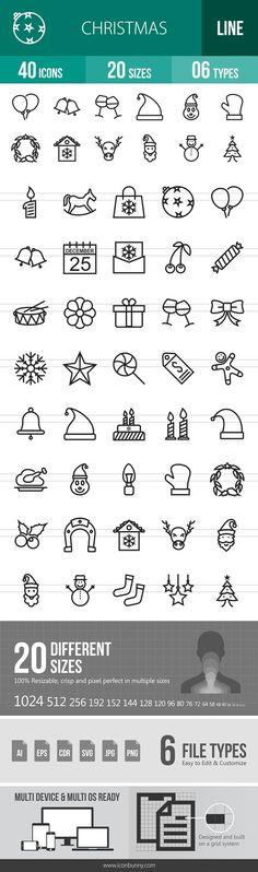 40 Christmas Line Icons. $9.00