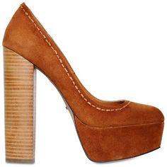 CARVELA KURT GEIGER 150mm Ariel Faux Suede Pumps (3,450 MXN) ❤ liked on Polyvore featuring shoes, pumps, heels, tan, leather sole shoes, wooden heel shoes, platform pumps, synthetic shoes and wooden high heel shoes
