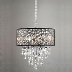 Modern Round 4-light Antique Bronze Crystal Chandelier Pendant