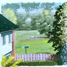 A little acrylic painting of the view from the back of our first house. Private collection
