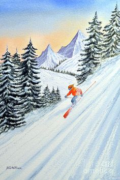 Skiing Painting - Skiing - The Clear Lady Leader by Bill Holkham
