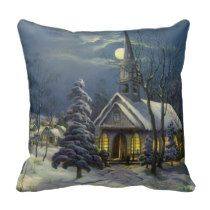 Vintage Christmas, Church in Moonlight Snow Winter Pillow