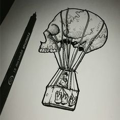 Fine liner Skull Air Balloon, I'm pretty happy with. - Imgur
