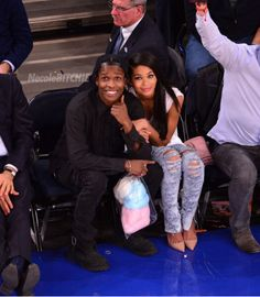 A$AP Rocky and Chanel Iman Courtside
