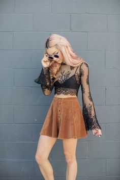 Coachella style, Boho fashion sheer lace black top with caramel suede skirt, perfect with boho accessories, festival fashion, Coachella fashion