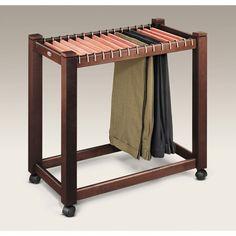 Rolling Pant Trolley with Cedar Hangers | Slack & Pant Racks |..neat idea for lower shelving