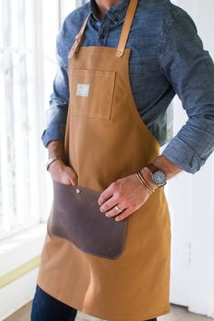 duck canvas & leather apron