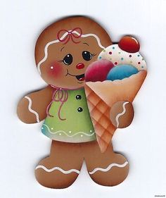 HP GINGERBREAD Ice Cream Cone FRIDGE MAGNET