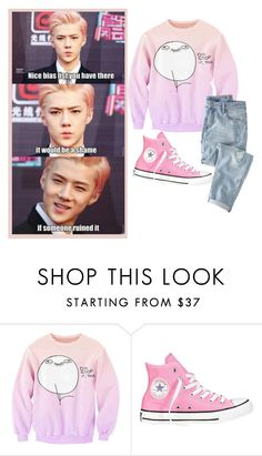 """every one needs a funny dAY"" by kpop-boy-anons ❤ liked on Polyvore featuring Converse and Wrap"