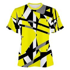 Yellow, black and white pieces abstract design Women's Sport Mesh Tee