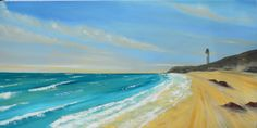 Lossiemouth west Lighthouse, Scottish seascape, Original painting