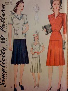 #Simplicity3669. Misses' two-piece dress, size 20. Copyright 1941.