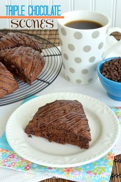 Triple Chocolate Scones from insidebrucrewlife.com - three kinds of chocolate in these scones will make your breakfast more enjoyable #chocolate #breakfast