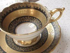 Vintage Black Tea cup Set Royal