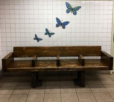 Butterflies Tile Mosaic with Bench, in the 5th Avenue Subway