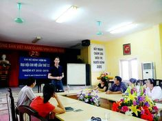 See Jonathan addressing doctors at a hospital for #HIV/AIDS patients in #Hanoi. Jonathan started in #Vietnam this week. Keep it up!