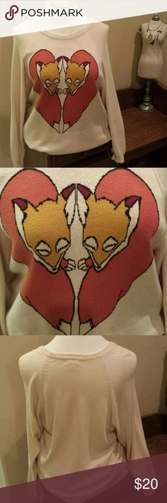 Urban Outfitters /Cooperative Fox sweater!!! Adorable oversized tight knit graphic fox in heart shape! Soft to the touch ...not itchy at all!..slouchy fit...tag is xs/s but could easy fit up to large and be less baggy. ...small stains on bottom left and a little pilling on the back bottom...all shown in pics Urban Outfitters Sweaters Crew & Scoop Necks