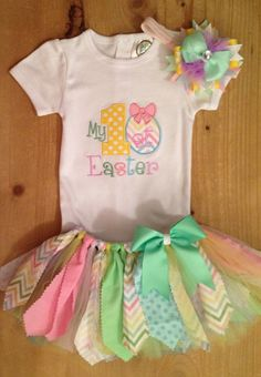 My 1st Easter Scrap Fabric Tutu Outfit by ScrapHappyTutus on Etsy, $40.00
