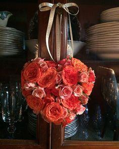 Valentine heart with fresh flowers.