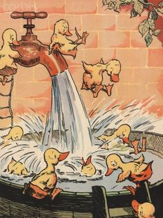 Illustration of ducklings playing in pail of water