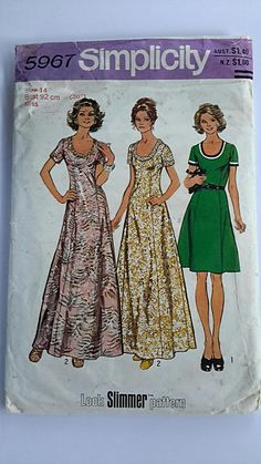 Vintage 1974 Simplicity Women's Dress Pattern 5967 Retro