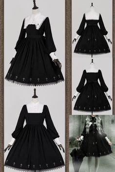Dress Outfits, Cute Outfits, Fashion Outfits, Emo Outfits, Gothic Lolita Dress, Lolita Fashion, Punk Fashion, Japanese Street Fashion, Gothic Outfits