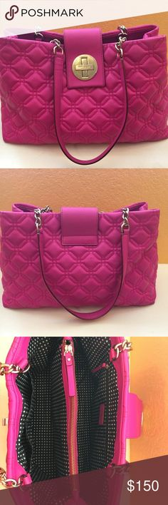 "Kate Spade Bright Pink Leather Tote Bag Kate Spade magenta leather. 10.5"" handle drop, 14""L x 10""H x 5""W  Bundle discount available kate spade Bags Totes"